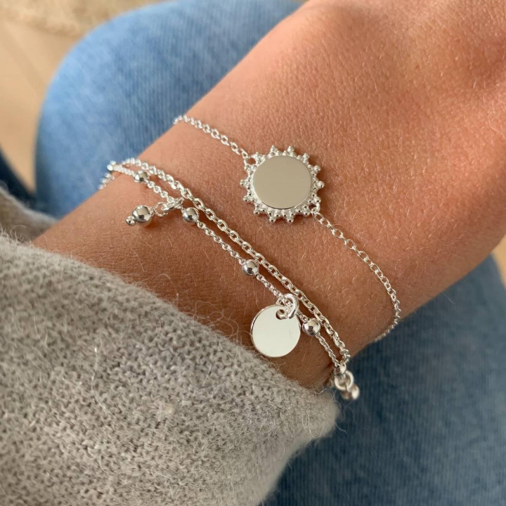 925 Silver chain bracelet with beaded sun medal
