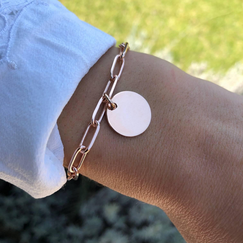 Rose gold-plated chain bracelet with large links
