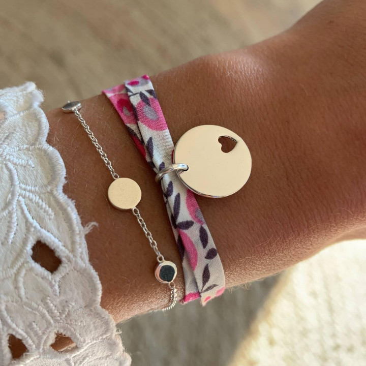 Liberty bracelet with 925 Silver hollowed heart medal