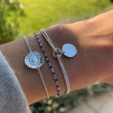 925 Silver chain bracelet with flower medal