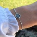 925 Silver beaded chain bracelet with labradorite medal