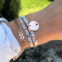 Liberty bracelet with rose gold-plated hollowed heart medal