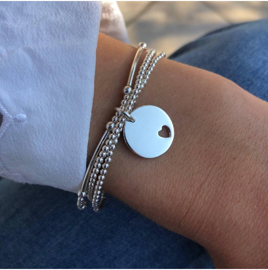 Triple row and perforated heart medal bracelet