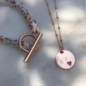 Rose-gold plated beaded chain necklace with hollowed heart medal