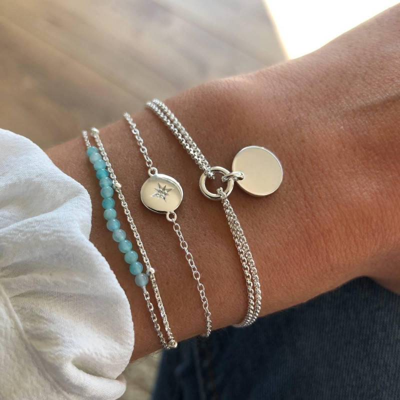 925 Silver shining star & amazonite bracelet set