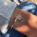 925 Silver half bangle and chain bracelet with labradorite medal
