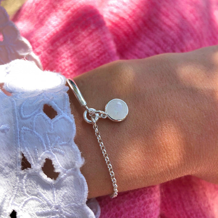 925 Silver half bangle and chain bracelet with moonstone medal