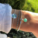 925 Silver half bangle and chain bracelet with amazonite medal