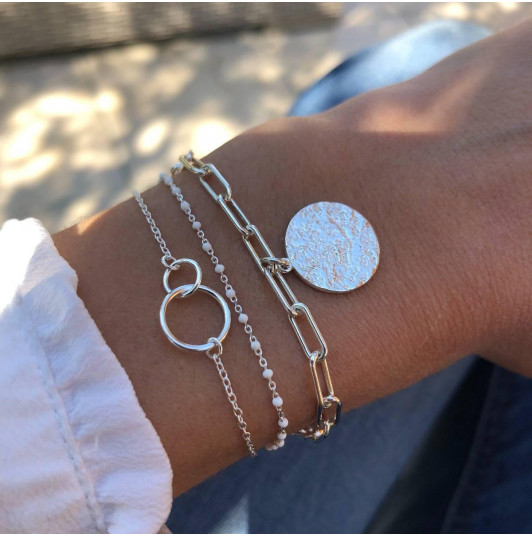 925 Silver chain bracelet with large links & Maya medal