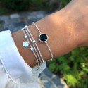 925 Silver beaded chain bracelet with onyx medal