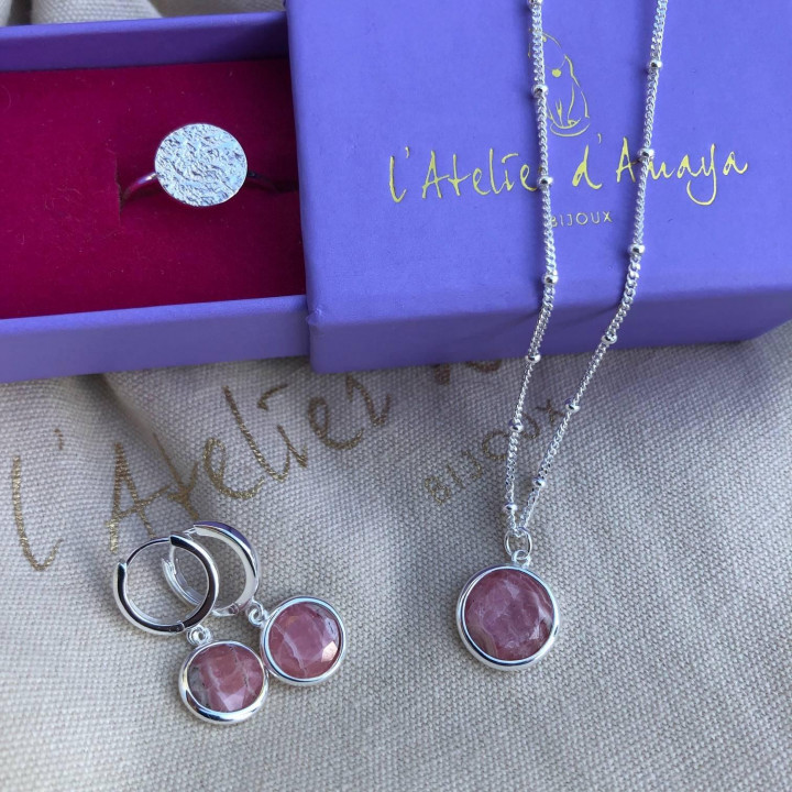925 Silver beaded chain necklace with rhodonite medal