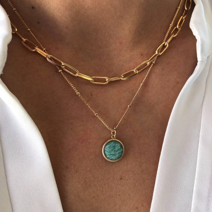 Gold-plated large thick links & gemstone necklace set