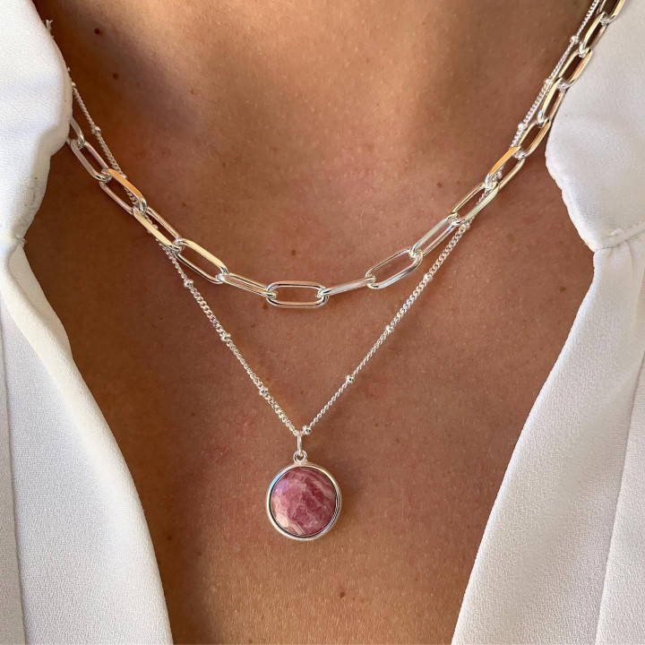 925 silver large thick links and rhodonite necklace duo