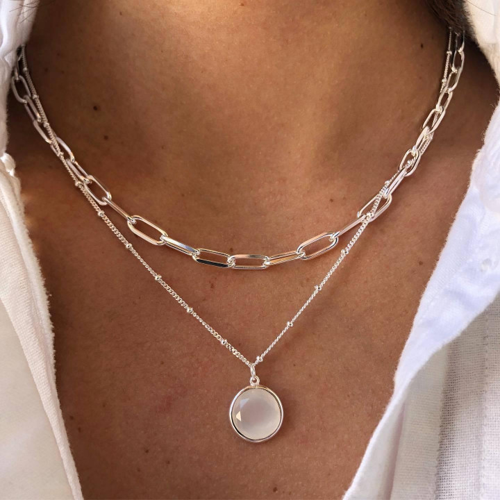 925 silver large thick links and moonstone necklace duo