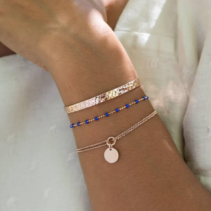 Rose gold-plated two-row chain bracelet with medal