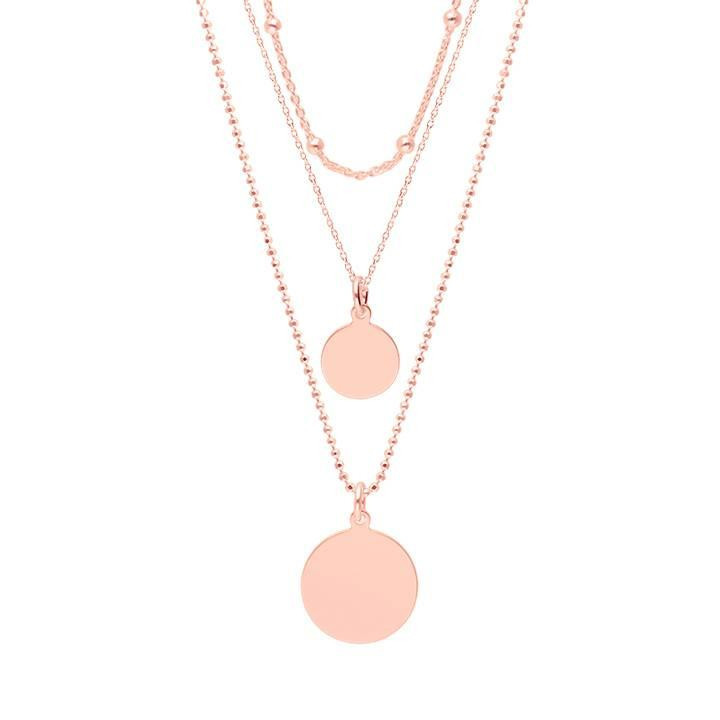 Rose gold-plated Triple row necklace with medals