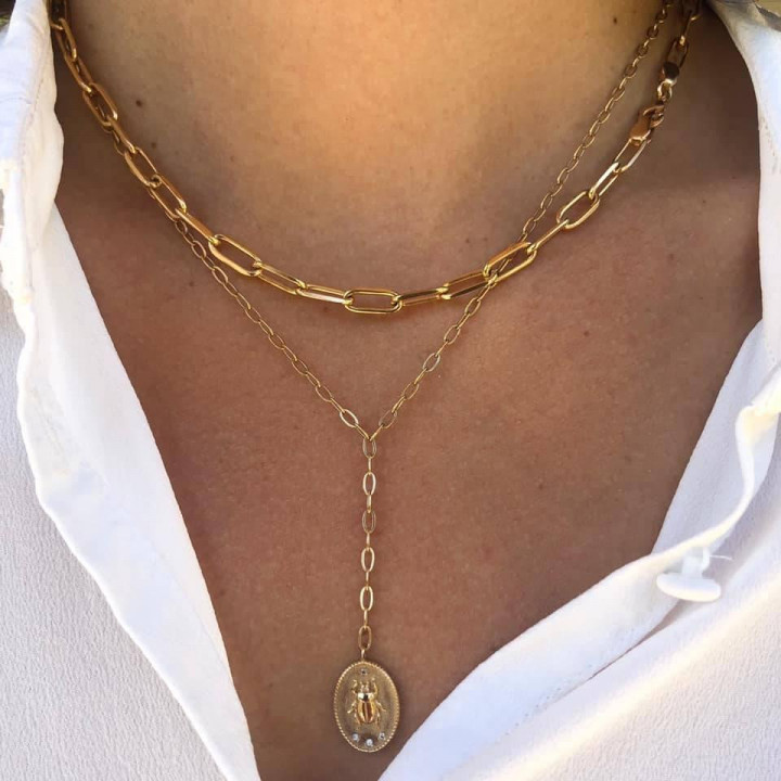 Gold-plated large & thick link necklace set
