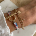 Gold-plated mini medals & double row bracelet