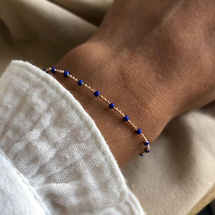 Rose gold-plated chain bracelet with blue beads