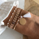 Rose gold-plated White laurel bracelet set