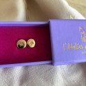 Gold-plated small shining star stud earrings