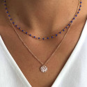 Rose gold-plated mini blue beads chain necklace