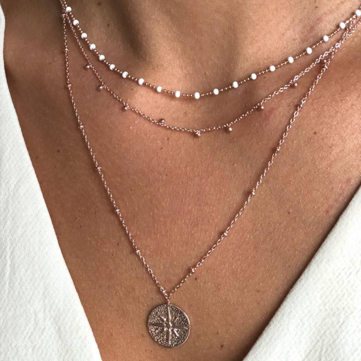 Rose gold-plated mini white beads chain necklace