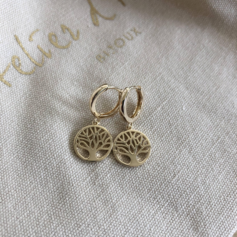 Gold-plated tree of life medal hoop earrings