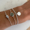 925 Silver cowrie shell & pearl chain bracelet