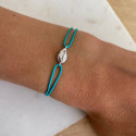 Tie bracelet with 925 Silver cowrie shell