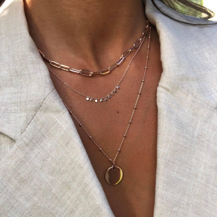 Rose gold-plated large thick links & Ori necklace set