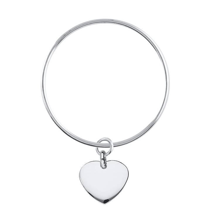 925 Silver bangle bracelet with curved heart medal