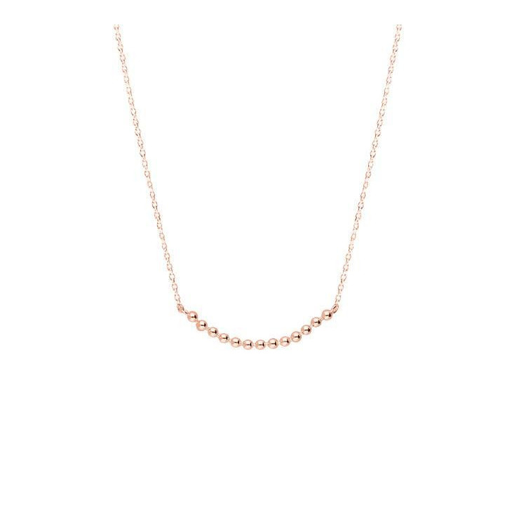 Rose gold-plated chain necklace with beads row