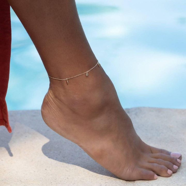 Gold-plated Small hammered medals chain anklet