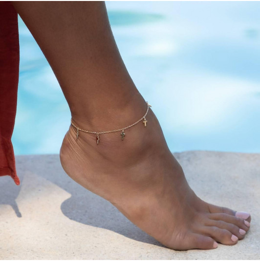 Small crosses chain anklet