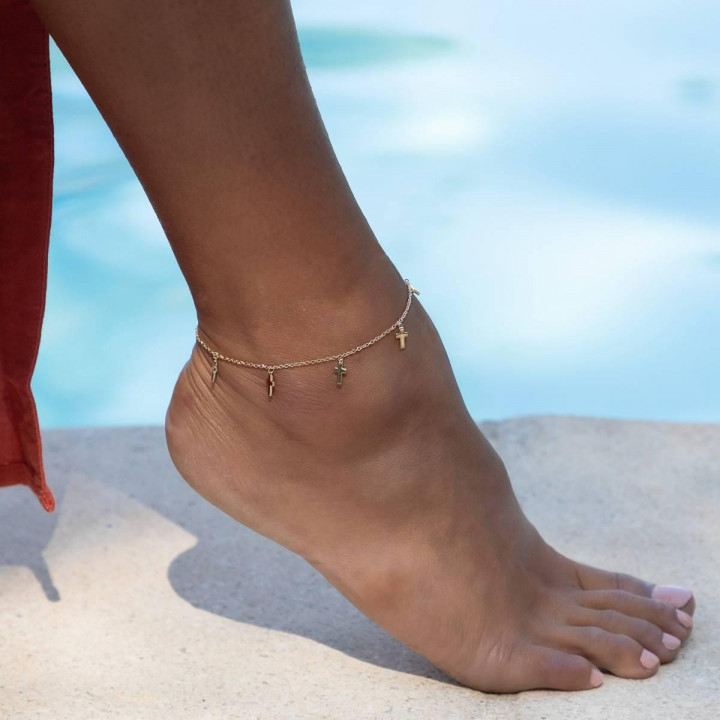 Gold-plated Small crosses chain anklet