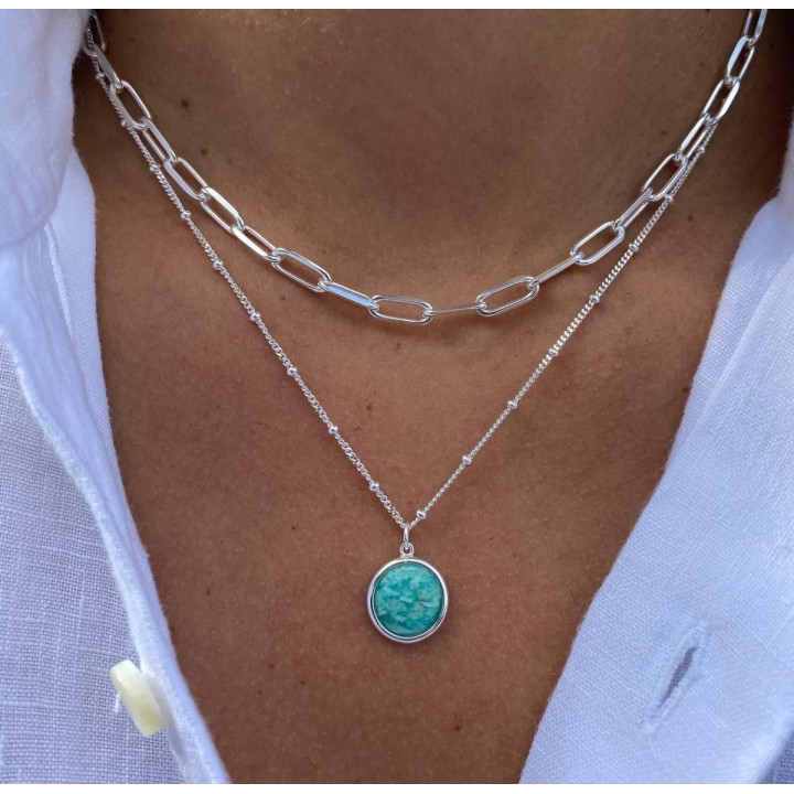 925 silver large links and amazonite necklace set