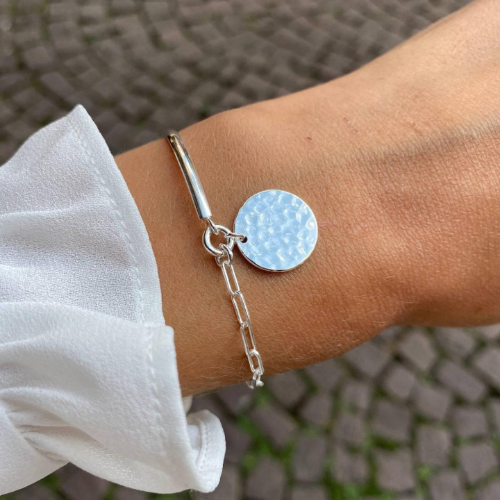 925 Silver Half bangle and large link chain bracelet with hammered medal