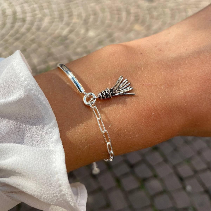 925 Silver Half bangle and large link chain bracelet with pompom