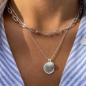 925 silver large links and white turquoise necklace set