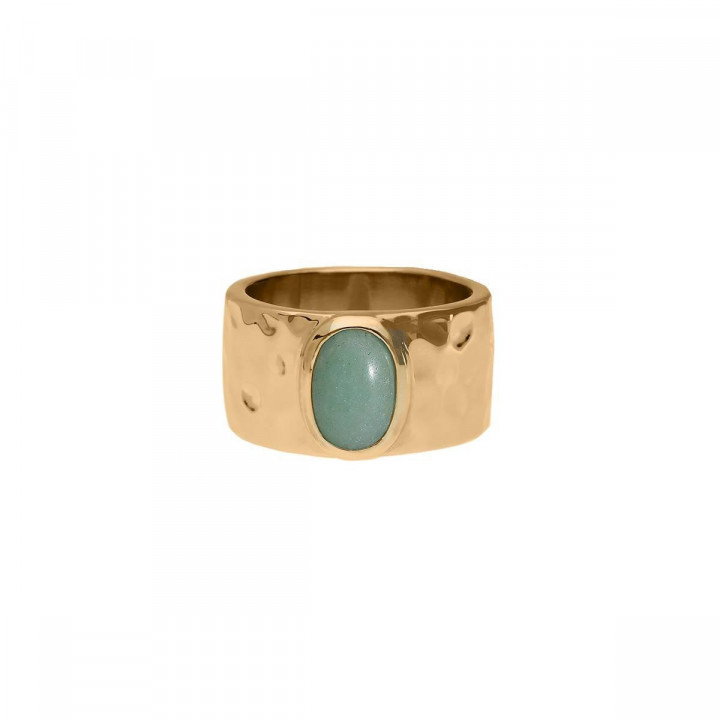 Gold-plated Aventurine hammered tube ring