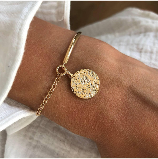 Half bangle and chain bracelet with Maya medal