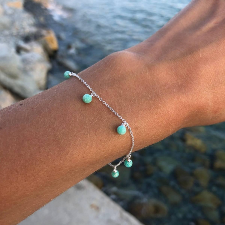 925 Silver Chain bracelet with amazonite beads