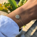 Gold-plated chain bracelet with beaded sun medal