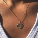 Gold-plated textured maya medal chain necklace
