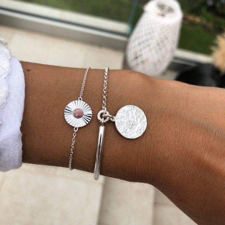 925 Silver half bangle and chain bracelet with Maya medal