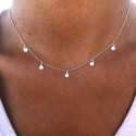 925 Silver chain necklace with 5 small textured medals