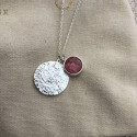 925 Silver Maya medal & amazonite chain necklace