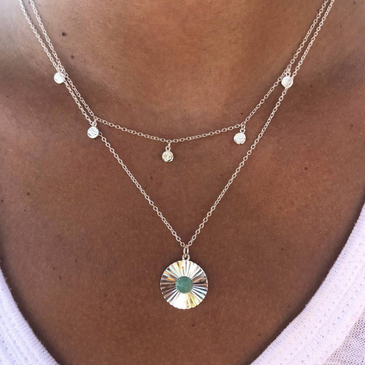 925 silver Textured & amazonite necklace set