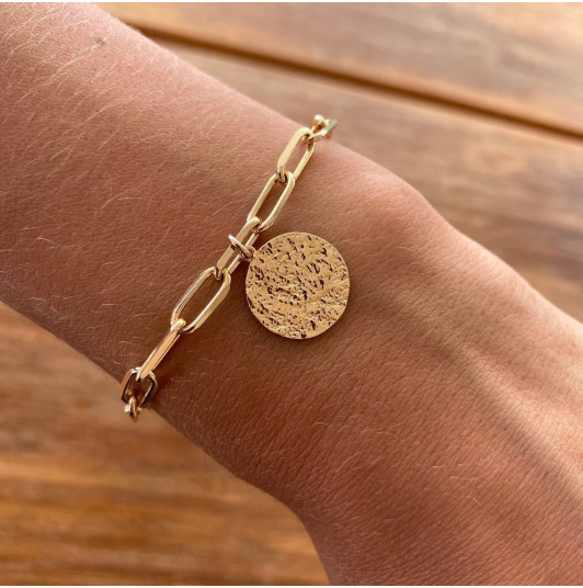 Chain bracelet with thick large links & Maya medal
